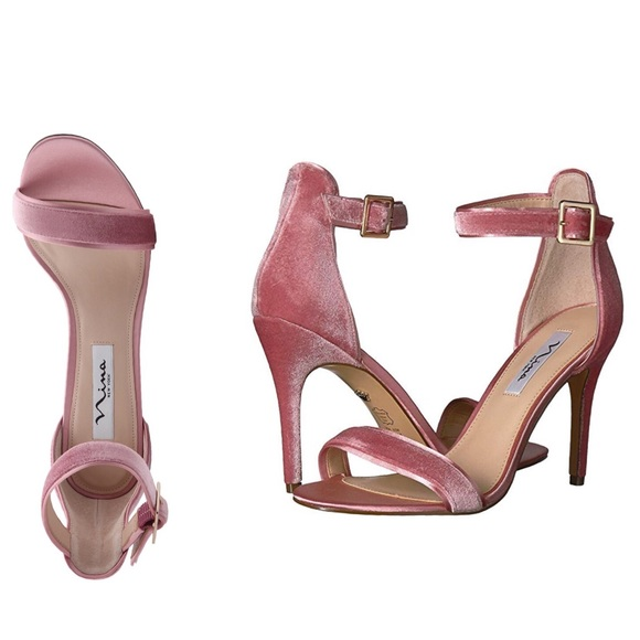 """ce5ff24a9d7 Pink Velvet High Heels Sandals """"Caela"""" by NINA 7.5"""